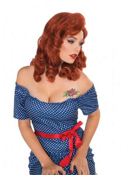 Adults Retro Rock Wig Rockabilly 60s Vintage Retro Fancy Dress